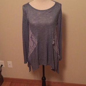 Andree blue grey sweater with grey lace